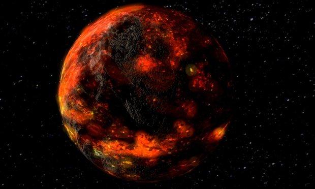 달 생성 초기의 마그마를 나타낸 상상도. - 미국항공우주국(NASA) 제공