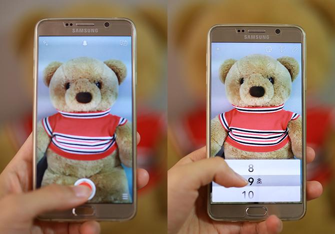 가운데 동그라미를 짧게 누르면 사진, 길게 누르면 동그라미가 빨갛게 변하며 동영상을 촬영할 수 있는데요(왼쪽). 촬영한 뒤 왼쪽 타이머 버튼을 누르면 보낸 메시지가 사라지는 시간을 1~10초 사이로 설정할 수 있습니다(오른쪽). - 이종림 제공
