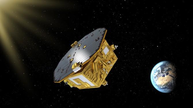 유럽우주국(ESA)의 중력파 탐지 기술 검증용 인공위성 '리사(LISA) 패스파인더'가 우주에 떠 있는 모습을 그린 상상도. - ESA 제공