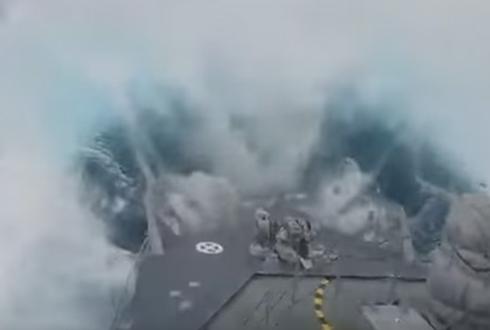 20미터 거대 파도가 군함을 덮쳤다, 아찔