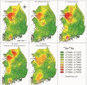 연구진이 제작한 스트론튬 동위원소 비 지도. 서울 경기 쪽이 동위원소 비가 높고, 부산 경남쪽이 낮게 나타난다.  - 한국기초과학지원연구원(KBSI) 제공