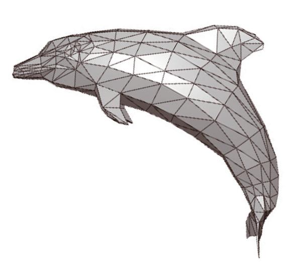 부드러운 돌고래로 만들려면? 폴리곤 메쉬로 표현한 돌고래의 몸을 더 부드러운 곡면으로 만들려면 먼저 다각형을 더 작은 삼각형이나 사각형으로 쪼갠다. 삼각형이나 사각형의 꼭짓점이 만나서 생기는 점들을 이었을 때, C2 연속 곡선처럼 부드러운 곡선이 되도록 점의 위치를 조금씩 조정한다. - 수학동아 제공