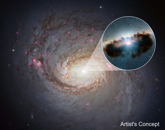 1908년 최초로 방출선이 관측된 활동성 나선은하 NGC 1068. 작은 원 안의 그림은 밝게 빛나는 은하핵을 상상해서 그린 그림이다. - NASA/JPL-Caltech 제공