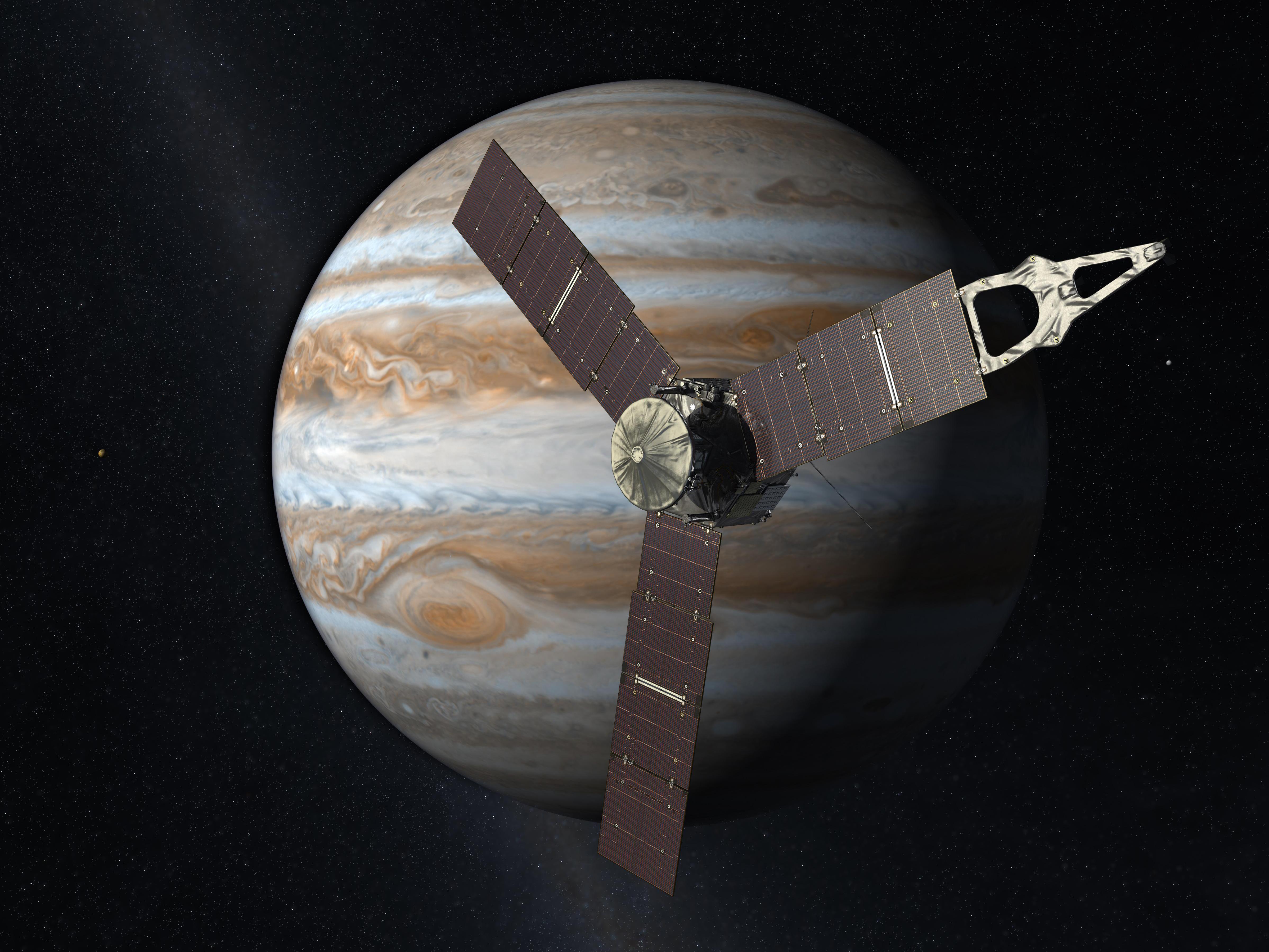 미국항공우주국(NASA)이 그린 목성과 주노의 상상도.NASA 제공
