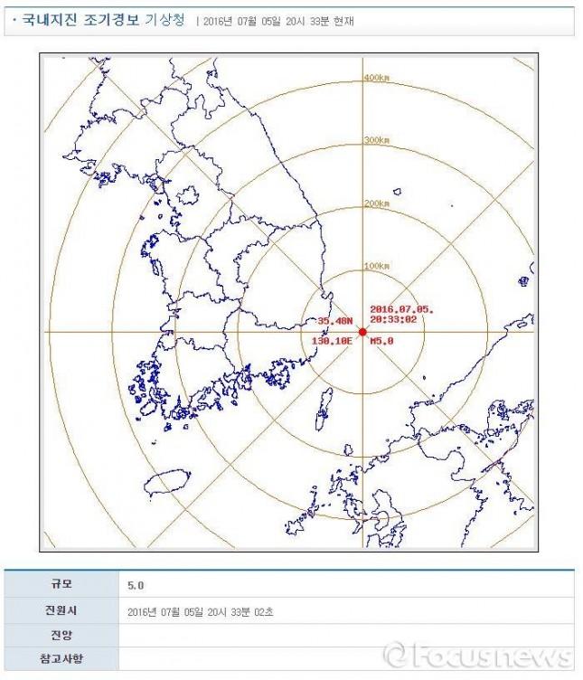 5일 오후 8시 33분 경 울산 인근 해역서 규모 5.0 지진 발생했다. - 기상청, 포커스뉴스 제공