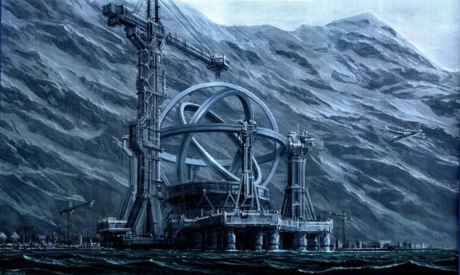 영화 콘택트에서 외계인의 신호에 따라 일본에 건설된 우주 여행 장비 - 워너브라더스 제공