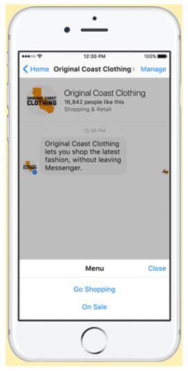 페이스북 메신저 챗봇 활용 모습 - 페이스북 제공