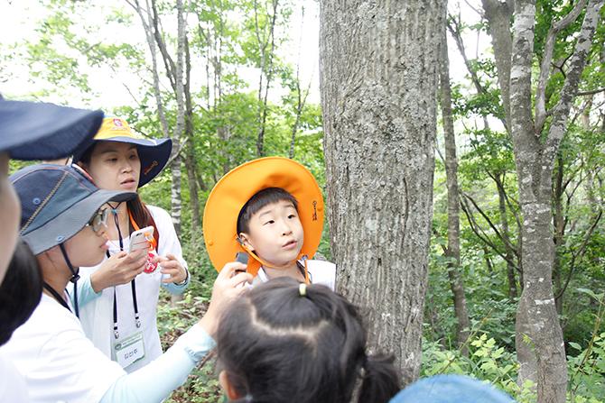 나무에 붙은 지의류를 관찰하고 있다. - 김정 기자 ddanceleo@donga.com 제공