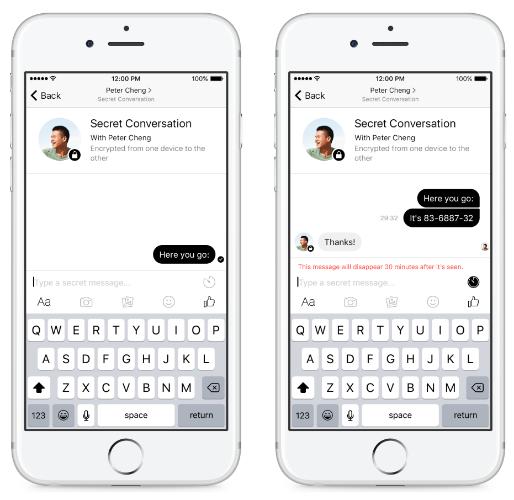 종단간 암호화가 적용된 페이스북 메신저 채팅 창 - Motherboard 제공