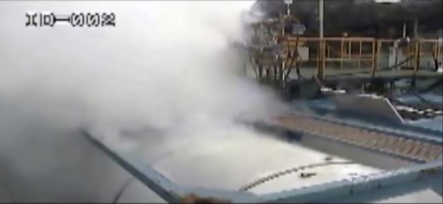 2012년 경북 구미의 한 화학공장에서 벌어진 불산누출 사고 영상의 한 장면.