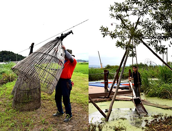 옛날 물고기 잡던 어구인 통가리를 가까이서 볼 수 있다.고기잡는 법을 알려주시는 박종훈 이장님(왼쪽). 논에 물을 대던 농기구인 파래(용두레)도 체험해볼 수 있다(오른쪽). - 고종환 제공