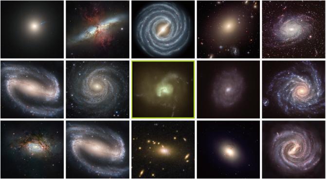 다양한 은하. 품고 있는 별의 온도에 따라 색이 다르다. 가운데 초록색 은하 사진은 영국 더럼대 연구진이 초록색 은하가 드문 이유를 연구하는 과정에서 나온 시뮬레이션 이미지다. - ESA/NASA&Hubble/ESO/Public domain 제공