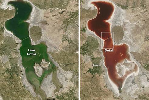 붉게 변하는 핏빛 호수 '신기해'