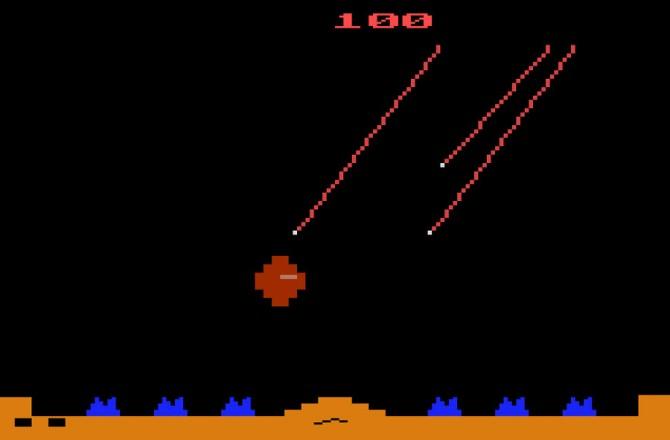 1980년 아타리사에서 출시한 게임 미사일 커맨드의 게임화면 - ATARI 제공