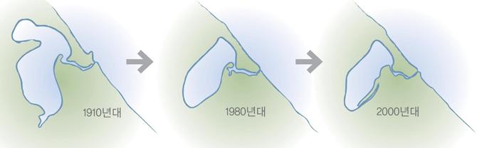 1910년대에만 해도 약 160만㎡ 면적에 둘레가 12km나 되는 석호였던 경포호. 현재는 약 89만㎡, 둘레는 4.3km다. - 원주지방환경청 제공