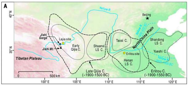 최근 고고학 발굴 결과 사마천의 '사기'에 나오는 요임금 시대 대홍수는 3900여 년 전 실제 일어났던 사건이었음이 밝혀졌다. 당시 지진으로 지시 협곡(Jishi Gorge, 지도 왼쪽)에 산사태로 댐이 생기며 물이 고였고 이듬해 댐이 터지면서 대홍수가 일어나 수천 킬로미터에 이르는 지역이 물에 잠기고 지형이 달라졌다. 지도 오른쪽을 보면 대홍수 이전 황하 하류(아래쪽 파란색 점선)와 이후 하류(위쪽 파란색 점선)가 크게 바뀌었음을 알 수 있다. 파란색 실선은 오늘날 물줄기이다. 이번 발굴로 초기 청동기 문화인 얼리터우 유적(Erlitou site)이 하나라와 관련이 있다는 학설이 한층 힘을 얻게 됐다. - 사이언스 제공