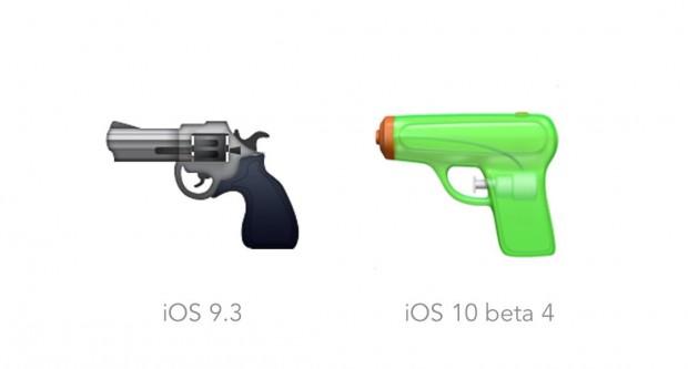 애플의 권총 이모티콘 현재 디자인과 iOS 10에서 변경된 디자인 - 애플 제공
