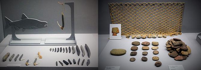제작기법과 형태가 특이해 학계에서는 오산리형 이음낚시라고 부른다(왼쪽). 그물에 어망추를 매달아 그물이 가라앉도록 하여 물고기를 잡았던 그물추(오른쪽). - 고종환 제공