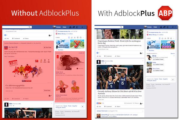 광고차단 소프트웨어 애드블록플러스 설치 전후의 페이스북 화면 비교 - TechCrunch 제공