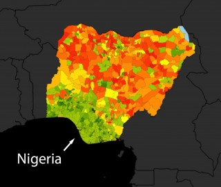 미국 스탠퍼드대 마셜 버크 교수팀이 인공위성 영상을 인공지능 기술로 분석해 2012~2015년 나이지리아의 지역별 1인당 하루 평균 지출액을 추정한 결과. 1.5~8달러(약 1660~8880원)를 빨간색부터 녹색에 이르는 색깔로 나타냈다. 짙은 빨간색으로 표시된 지역이 '국제 빈곤선'인 1.92달러(약 2130원)에 못 미치는 극빈 지역이다. - 사이언스 제공