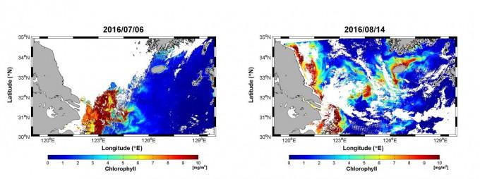 정지궤도 위성 천리안이 7월 6일 촬영한 사진(왼쪽)에는 낮은 농도의 해수인 저염분수(빨간색)가 중국 양쯔강 하류 유역에만 모여있는 데 비해 8월 14일 사진(오른쪽)에는 제주 해역 인근까지 저염분수가 확산돼 있다. - 한국해양과학기술원(KIOST) 제공