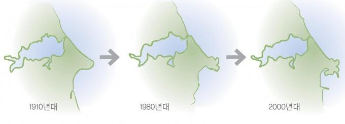 영랑호의 면적변화. 옛 문헌에 의하면 영랑호 주위가 30여 리(약 12km)에 달했다고 한다. 현재는 약 7.7km다. - 원주지방환경청 제공
