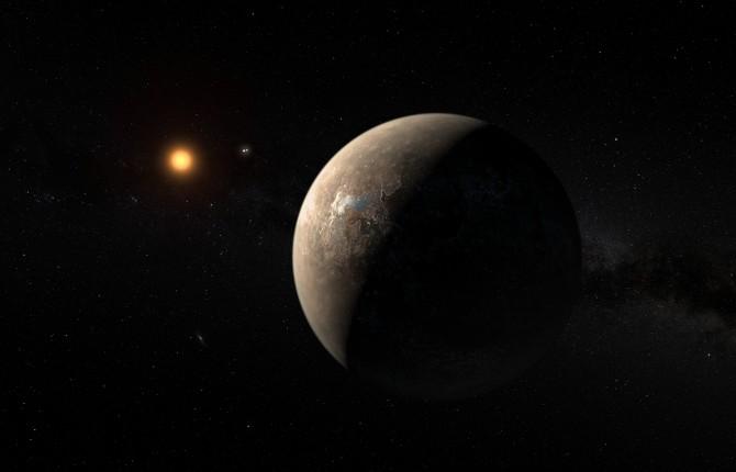 지구에서 가장 가까운 지구형 행성인 '프록시마 b'(오른쪽)의 상상도. 프록시마 b는 질량이 지구의 1.3배인 암석형 행성으로, 11.2일마다 중심별인 '프록시마 켄타우리'(왼쪽) 주위를 한 바퀴 돈다. - 네이처 제공