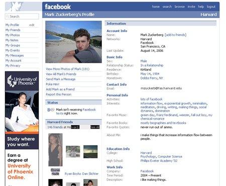 2006년 당시 페이스북 모습. 친구들의 소식이 한꺼번에 나타나는 지금의 뉴스피드 방식과는 달리 개인 프로필 중심이다. - Shareholic 제공