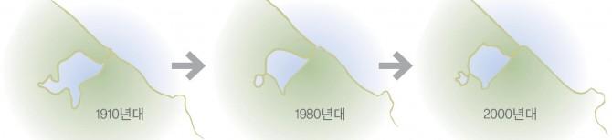 향호 면적 변화.1910년대 42만㎡에서 현재는 34만 5천㎡다. - 원주지방환경청 제공