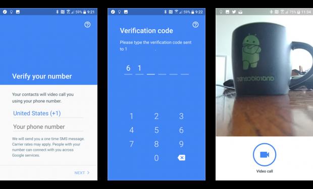 구글 듀오 사용자 등록 과정. 구글 계정 없이 전화번호 인증만으로 바로 사용할 수 있다. - androidcentral.com  제공