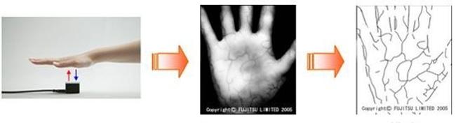 손바닥을 기계에 가져다 대면 사용자의 정맥의 분포 패턴을 인식하는 지정맥 기술. - 후지쯔 제공