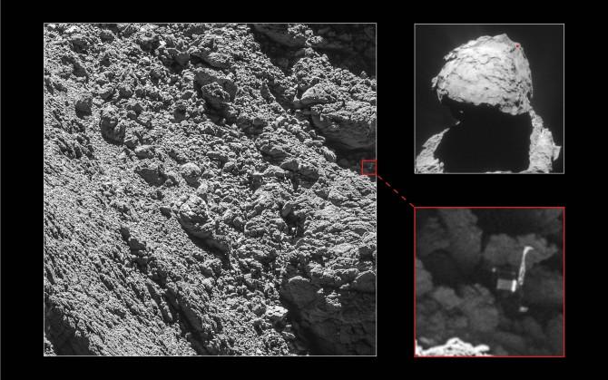 혜성 67P/추류모프-게라시멘코에서 발견된 필레의 모습. 태양광 발전을 하기 어려운 그늘에 있다. - ESA 제공