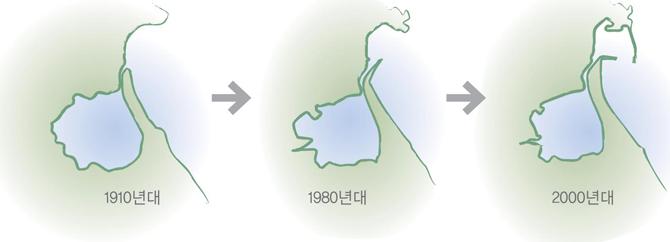 청초호의 면적 변화. 1990년대 호수의 약 3분의 1이 매립되면서 규모가 대폭 줄었다. - 원주지방환경청 제공