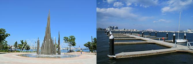 시민과 여행객의 휴식처가 되어주는 청초호 유원지(왼쪽), 2013년에 설치된 요트 계류시설(오른쪽. 지난 2월에 찍은 사진). - 고종환 제공