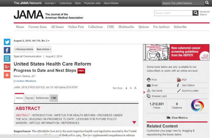 버락 오바마 미국 대통령의 논문이 올해 8월 미국 의학협회저널에 실렸다. - JAMA 제공