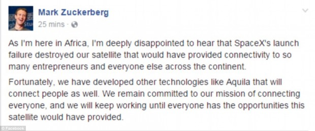 마크 저커버그 페이스북 CEO가 스페이스X 로켓 폭발에 유감을 표하는 포스트를 페이스북에 올렸다.  - Facebook 제공