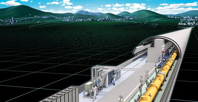 일본이 건설을 주도하고 있는 '국제 선형 입자충돌기(ILC)' 조감도. 길이 31㎞의 ILC는 전자와 양전자를 가속해 충돌시킨 뒤 나타나는 입자물리 현상을 관측하는 데 활용될 예정이다. - ILC 조직위원회 제공