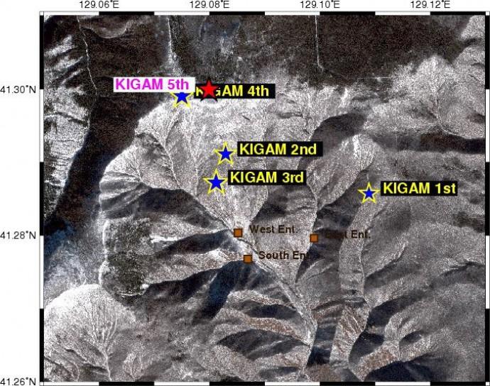 제 1~4차 핵실험이 일어났던 위치(KIGAN 1~4)와 이번 핵실험이 진행된 위치(빨간별). 5차 핵실험은 4차 핵실험과 불과 400m 떨어진 지역에서 이뤄질 것으로 추정된다. - 한국지질자원연구원 제공