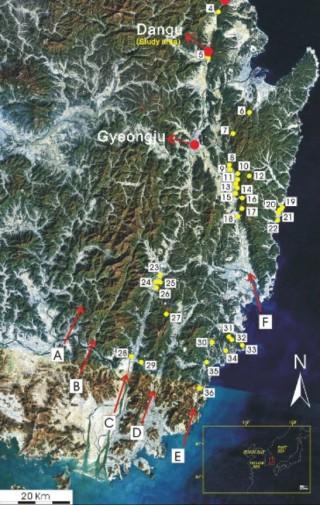 한반도 동남부에서 발견된 단층 지대. (A)밀양단층, (B)모량단층, (C)양산단층, (D)동래단층, (E)일광단층. -  한국지질학회지 제공