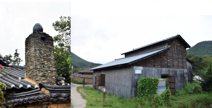 선조들의 지혜가 담겨 있는 항아리 굴뚝(왼쪽 사진). 영화 '동주'에 나왔던 정미소. - 고종환 제공