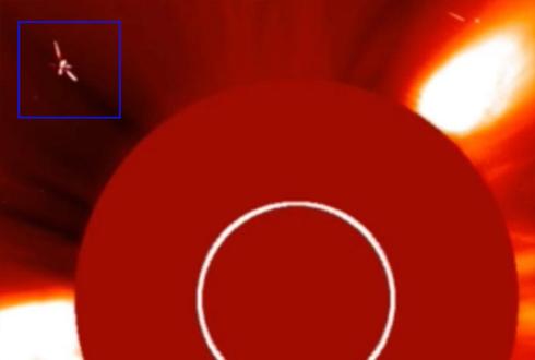 태양 주변에 나타는 비행체?