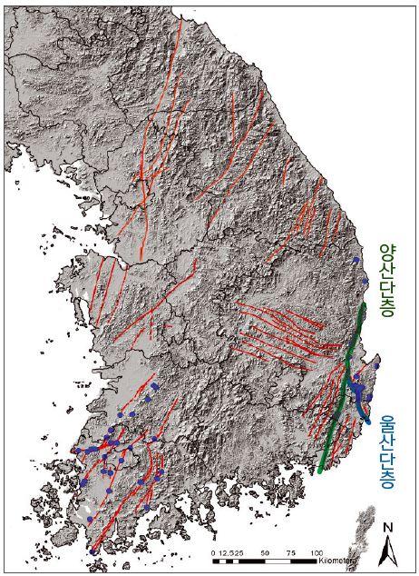 60여 개 활단층 지도. 가장 최근의 지질시대를 가리키는 제4기(259만 년 전~현재)에 지진 활동이 일어난 적이 있고, 앞으로 지진 활동을 재개할 가능성이 있는 단층을 활단층이라고 한다. 현재까지 우리나라에서 발견된 활단층은 양산단층과 울산단층을 포함해 모두 60여 곳이다. - 한국지질자원연구원 제공