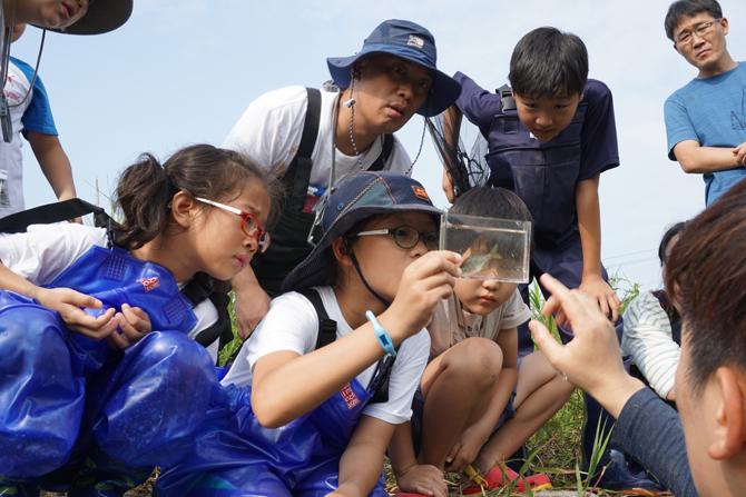 민물고기를 관찰하는 지사탐 대원들의 모습. - 김정 기자 ddanceleo@donga.com 제공