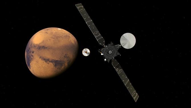 유럽과 러시아가 공동으로 개발한 무인화성탐사선 '엑소마스(ExoMars)'와 화성의 상상도. - ESA 제공