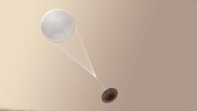 스키아파렐리가 하강하는 모습을 그린 상상도 - 유럽우주국(ESA) 제공