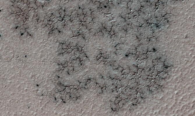시민 1만 명의 도움으로 미국항공우주국(NASA) 연구진이 발견한 화성 표면의 '스파이더(Spider)' 지역. 스파이더는 얼어붙은 고체 상태의 이산화탄소가 다량 매장돼 있는 곳으로 계절에 따라 주기적으로 폭발이 일어난다. 거미의 다리 모양으로 길게 표면으로부터 긴 구멍이 나 있다는 데서 이런 이름이 붙었다. - 미국항공우주국 제공
