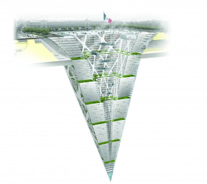 어스크래퍼(Earthscraper)라는 지하도시의 조감도. 300m의 마천루를 지하에 거꾸로 박아 넣은 듯한 모습이다. - BNKR Arquitectura 제공