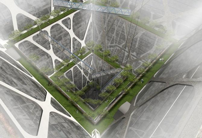 멕시코 BNKR 건축이 제안한 어스크래퍼. 중앙에 자연채광을 위한 공간이 있다. 깊이가 300m에 이르며 10만 명이 살 수 있다. - BNKR Arquitectura 제공