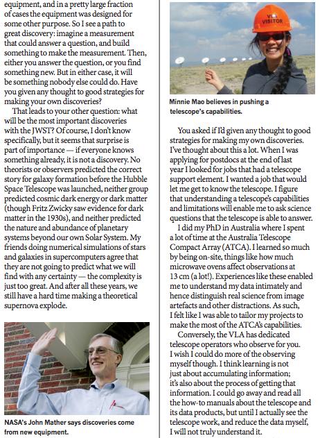 학술지 '네이처' 2012년 10월 11일자에 실린 '물리학 특별수업'이란 제목의 부록에는 2006년 노벨 물리학상 수상자 존 매더(왼쪽 아래)와 신참 과학자 민니 마오(오른쪽 위)가 세 차례에 걸쳐 주고받은 편지가 실렸다. - 네이처 제공