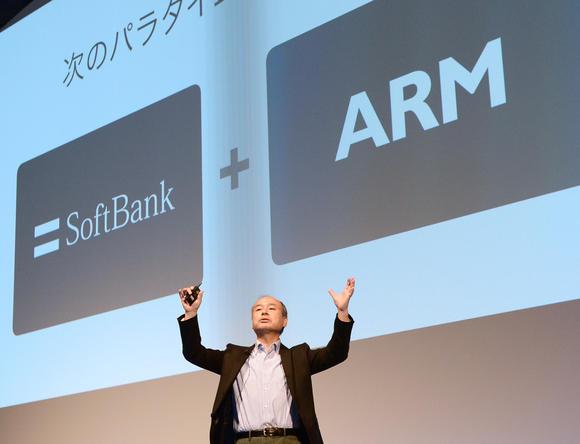 소프트뱅크를 통해 영국의 반도체 회사 ARM 인수를 발표하는 손정의 회장